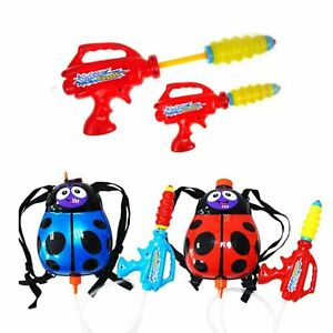 Set of 2 Ladybird 2L Backpack Water Gun Wet Toys Blue and Red Pump Action Cannon