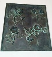 """HEN-FEATHERS MARBLE BONDED HAND CAST 3D Rose Hips Petina WALL PLAQUE 16"""" x 13.8"""""""