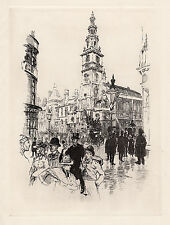 "Detailed Joseph PENNELL Original 1800s Etching ""St Clement Danes"" Framed COA WOW"