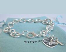 Bracciale donna a Maglia con Cuore e chiave silver 925 tiffani
