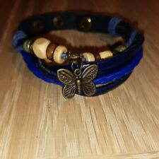 Blue Leather And Bead Butterfly ladies/girls Charm Bracelet
