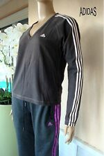 TEE SHIRT SWEAT ADIDAS  NOIR  AUX 3 BANDES BLANCHE T 38 /40 BE