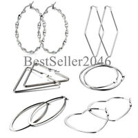 6 Pairs Women Girls Silver Tone Stainless Steel Large Hoop Earrings Gift Set