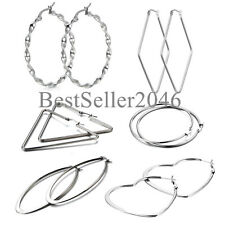 6 Pairs Women Girls Silver Tone Stainless Steel Large Hoop Earrings Gift Set
