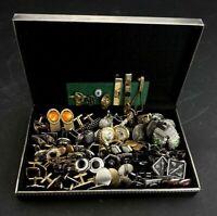 Vtg Cufflinks Lot Swank + Assorted 35 Pairs Sets Cufflink W/ Storage Box Case