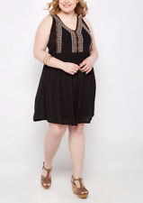 RUE + plus size womens clothes Black embroidered summer beach dress size 3XL 24