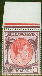 Singapore 1951 40c Red & Purple SG26 V.F MNH Marginal