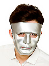 Mens Silver Plastic Face Mask Deluxe Robot Theatrical Drama Fancy Dress Sci Fi