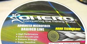 OHERO ADVANCED BRAIDED MICROFIBER FISHING LINE-- 20 lbs -300 YDS - CHOOSE COLOR