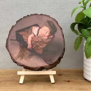 Wood Slice Photo Plaque - Gift for New Mum or Dad - Personalised Gift