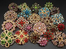 Lot 24pc Mixed Alloy Vintage Style Rhinestone Crystal Brooches Pins DIY Bouquet