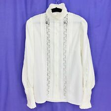 Vintage 80s Laura Ashley Blouse Ruffled Victorian High Collar Lace White XS