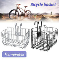 Bike Bicycle Front/Rear Basket Mesh Bracket Storage Shopping Carry Quick Release