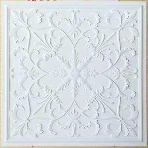 Ceiling tiles Faux tin white matt decor restaurant bar decor wall panels PL70