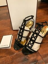 "Coach ""Farrow"" Black Patent Leather Strappy Heels, Size 10, NIB!"