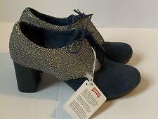 Camper Oxford Shoe Blue Stingray Leather Nubuck Block Heel New With Tags Size 36