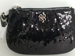 Coach Occasion Black Sequence Small Wristlet Clutch NWT 44509