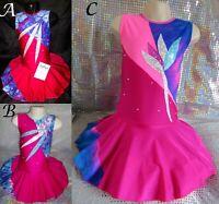 Dance Costume Leotard Pink Cheer Twirling Jazz Modern Tap Ice Skating Dress UK