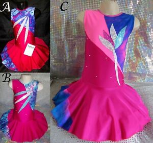 Dance Costume Leotard Pink Cheer Twirling Jazz Tap Ice Skating Dress MADE IN UK