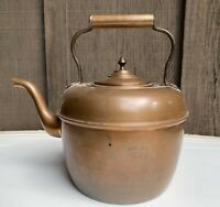 Old Antique Vtg Goose Neck Copper Teapot Tea Kettle Collectible Forged Handle