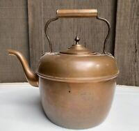 Old Antique Vtg Goose Neck Copper Teapot Tea Kettle Collectible Forged Handle