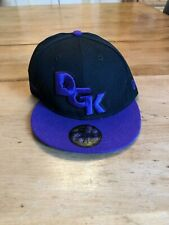New Era 59fifty Fitted Flat Brim DGK Black/Purple Cap Size 7-3/8 New Old Stock