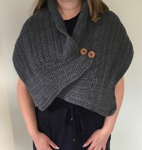 Handmade crochet button shawl scarf with buttons