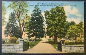 Linen Postcard~ Stone River National Military Park~ Murfreesboro, TN~ C102