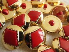 lot 12 boutons rouge  à pied  doré mercerie couture diamètre: 1,7 cm TA