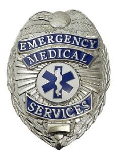EMS Emergency Medical Service Generic Metal Badge in Silver Color #4183N