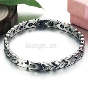 Titanium Magnetic Bracelet Silver Bio Therapy Arthritis Health Pain Relie