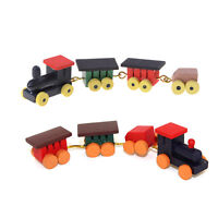 Cute 1/12 Dollhouse Miniature Painted Wooden Toy Train Set and Carriages MO