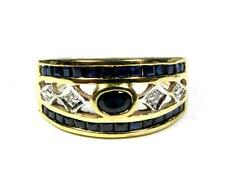 VINTAGE Samuel  Benham SAPPHIRE DIAMOND RING WEDDING BAND 14K YELLOW GOLD