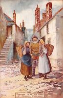 "old postcard "" fishwives in an old street at newlyn - cornwall "" jotter"