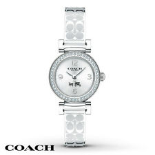 NWT Coach WOMEN'S SIGNATURE ETCHED STAINLESS STEEL BANGLE WATCH 24mm 14502201