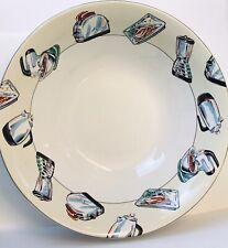 """Fitz & Floyd Habitat Omnibus """"50's Kitchen"""" 1994 Stoneware Serving Bowl 9"""" Wide"""