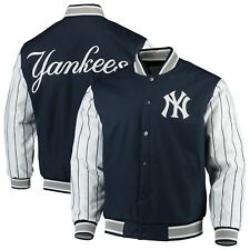 JH Design MLB New York Yankees Navy Quilted Knit Lined Pinstripe Jacket