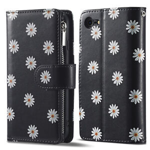 Floral zip Leather Stand Wallet Phone Cover Case For iPhone 11 12 SE XR 8 7 13