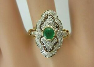 18k Yellow Gold Emerald and Diamond Ring 0.70 ct TW