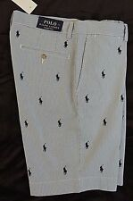 "Polo Ralph Lauren Pony Logo Ponies Pinstripe Striped Classic Fit Golf Shorts 9"""
