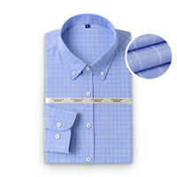 Camisas Mens Long Sleeves Plaid Dress Shirts Luxury Oxford Multicolor ST6532