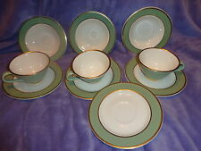 (10 PC`S) HERITAGE  GREEN  TAYLOR SMITH TAYLOR CHINA~VINTAGE GOLD TRIM ~ LOOK!