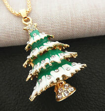 Pendant Betsey Johnson Long Necklace Green White Enamel Crystal Christmas Tree