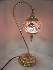 Turkish Lamp Swan Hand Made Moroccan Table Mosaic Colourful Glass Gold Base