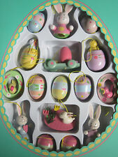 Easter Decorations16 Wood Ornaments Spring Decoration Bunny Eggs Birds Flowers