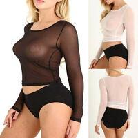 Women See-Through Long Sleeve Seamless Arm Shaper Top Mesh Shirt Blouse