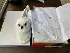 Katy Perry Women Clarissa White Owl Suede Slip-On Shoes Sneakers Size 9.5