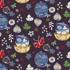 Cucina Kitchen, Cups, Jars, Butterflies, Herbs, Navy, Windham, By the Yard