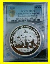 2010 CHINA 10Y 1 OZ 999 SILVER PANDA 20TH ANNIVERSARY PCGS MS 70 RARE POP 48 COA