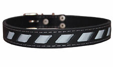 "High Quality Genuine Leather Reflective Dog Collar 17""-21.5"" Neck Retriever"